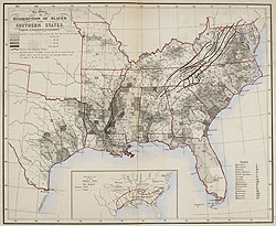 Map, showing the Distribution of Slaves in the Southern States